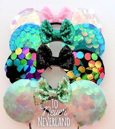 Rainbow Mermaid Sequin Mickey Ears, Mermaid Sequin Minnie Ears, Rainbow Sequin Mickey Ears, Mickey E Diy Disney Ears, Disney Minnie Mouse Ears, Disney Diy, Disney Crafts, Disney Headbands, Mermaid Sequin, Disney Merchandise, Disney Inspired, Fandom Outfits