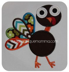 Funky Turkey Applique Design  Comes in a satin and zigzag version in sizes for the 4x4 hoop, 5x7 hoop,6x10 hoop and 8x10 hoop.  Formats Included: ART, DST, EXP, HUS, VIP, XXX, JEF, PES, SEW