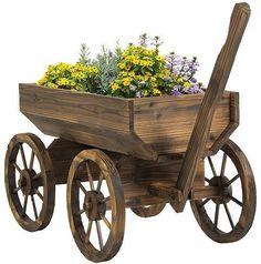 Outdoor Wooden Wagon Βackyard Flower Plants Planter Wheels Patio Garden Decor #OutdoorWoodenWagon