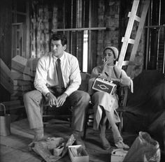 Elizabeth Taylor and Rock Hudson on the set of Giant, 1956