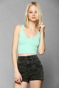 Silence + Noise Plunging-V Cropped Top #urbanoutfitters