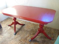 Duncan Phyfe Redone! Heirloom Red, this table is gorgeous! Red dining room table