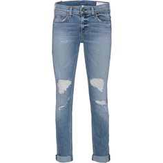 RAG&BONE Der Carter Blue // Destroyed jeans ($260) ❤ liked on Polyvore featuring jeans, bottoms, pants, loose jeans, cropped jeans, loose fit jeans, low rise straight leg jeans and rag bone jeans