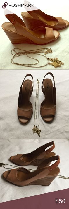"•LUCKY BRAND•  wooden 4"" sling back wedges Worn twice, in near perfect condition (see last photo) really cute and high quality Lucky Brand Shoes Wedges"