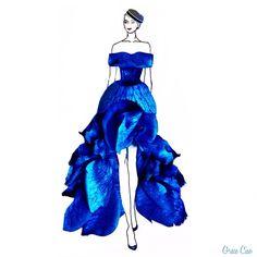 ため息が出るほど綺麗!本物の花びらを使って描かれた素敵なドレスデザイン*