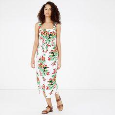 Warehouse, Botanical Floral Midi Dress Neutral  Print 0