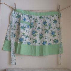 Sweet green and blue floral hostess apron from the 1950s.