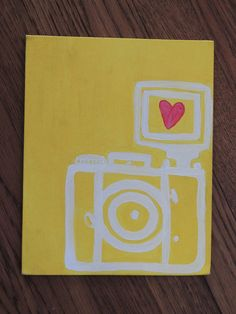 Yellow vintage camera hand painted canvas