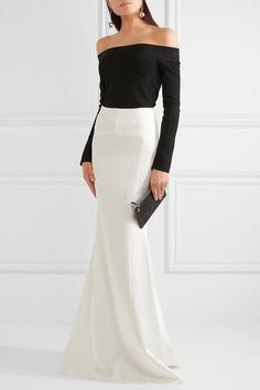 Roland Mouret - Aries Satin Maxi Skirt - White - UK