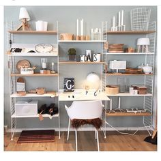 String Shelf - shelf/desk/bookcase system using wiring