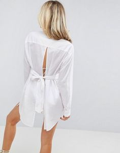 ASOS Beach Shirt with Open Tie Back - White