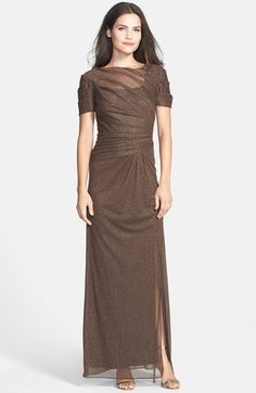 Free shipping and returns on Alex Evenings Ruched Glitter Mesh Gown (Regular & Petite) at Nordstrom.com. Airy, softly folded fabric showered in tinsel imparts ethereal glamour to a flattering chocolate-brown gown.