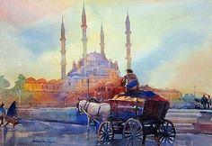 Hicran Alioğlu-Eski İstanbuldan 30x40 sulu boya kağıt uz.