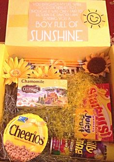 Box of sunshine to cheer someone's day up. College care packages ☀☺