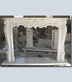 fireplace mantle.  Make from wood, add plaster of paris appliqués, paint.