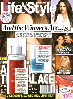 Life & Style Magazine Best of Beauty 2012 Award Winner!  The beauty editors and industry experts have selected Dermelect for 2 Beauty Awards- Best Nail Strengthener and Best Cleanser!