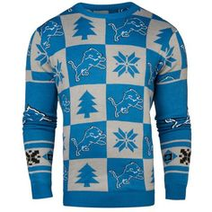 988e1692e64 Detroit Lions Forever Collectibles Light Blue   Gray Knit Patches Ugly  Sweater