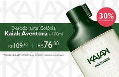 """PROMOÇÕES E NOVIDADES REDE NATURA (28/03 a 04/04) Compre online o desodorante colônia Kaiak Aventura com desconto especial de 30%. Aproveite! Economize R$ 33.  Validade: 29/03 a 04/04, ou enquanto durarem os estoques. Produto: http://rede.natura.net/espaco/naturashopping/kaiak-62b?_requestid=4988300       """"NaturaShopping É comprar produtos Natura."""""""