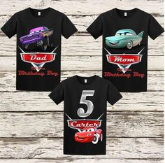 Disney Cars cumpleaños camisa coches Matching familiares