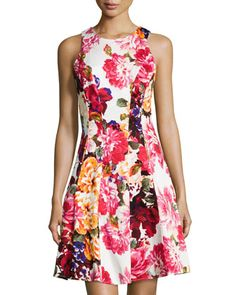 Sleeveless Floral Fit-and-Flare Dress, White/Multicolor by Maggy London at Neiman Marcus Last Call.