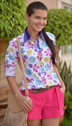 loja camisa feminina Smart Outfit, My Outfit, Corsage, Shorts E Blusas, Look Fashion, Womens Fashion, Collar Blouse, Casual Tops, Dressmaking