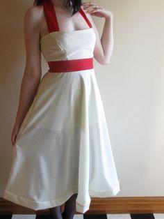 Cream & Red Halterneck Formal Dress Extra Small by XamiaArc, $120.00