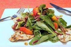 Gojee - Organic Herbed Chicken Paillard & Summer Peach Salad by Saffron Lane