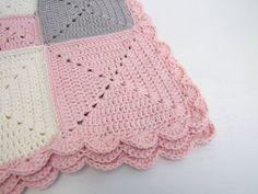 crochet blanket pink cream organic cotton by BabanCat on Etsy