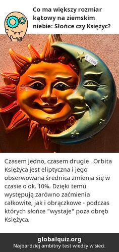 """Co ma większy rozmiar kątowy na ziemskim niebie: Słońce czy Księżyc?  czasem jedno, czasem drugie ! Orbita Księżyca jest eliptyczna i jego obserwowana średnica zmienia się w czasie o ok. 10%. Dzięki temu występują zarówno zaćmienia całkowite, jak i obrączkowe - podczas których słońce """"wystaje"""" poza obręb Księżyca."""