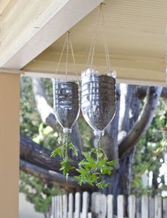 Another way kids could get involved with the garden: help make these hanging tomato planters (Gardening with kids is both active and a great way to get more personal connection to foods)