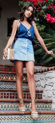 Button front skirts + denim + Annabelle Fleur + cute and casual + blue cami + beautiful neutral espadrilles + cute minimal accessories Skirt: Asos, Top: Sincerely Jules, Shoes: Castaner.