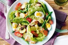 SALMON NICOISE  INGREDIENTS 750g waxy potatoes (see note) 450g green beans 6 eggs Extra virgin olive oil, to drizzle 4 x 150g skinless, boneless salmon pieces 1 tsp fennel seeds 250g large cherry tomatoes 1 butter lettuce 75g small black olives  WHITE WINE VINAIGRETTE 1 eschalot 1/2 lemon 1 clove garlic 1/4 bunch basil 1 tsp Dijon mustard 2 tbs white wine vinegar 160ml (2/3 cup) extra virgin olive oil 4 anchovy fillets