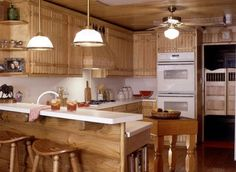 Country kitchen in a log home