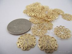 Gold Plated Filigree Rounds 15mm 50 Pieces by JSWMetalWorksSupply