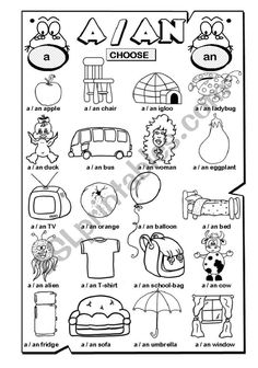 A / AN (1/2) worksheet English Primary School, Learning English For Kids, English Lessons For Kids, Kids English, Teaching English, Grammar Activities, English Activities, Grammar Lessons, Kids Learning Activities