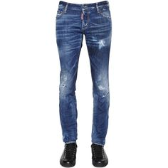 Dsquared2 Men 18cm Slim Distressed Stretch Denim Jeans (25,885 DOP) ❤ liked on Polyvore featuring men's fashion, men's clothing, men's jeans, blue, mens slim fit jeans, mens stretch denim jeans, mens ripped jeans, mens slim cut jeans and mens blue jeans