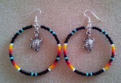 """Turquoise + Black Beaded Silver TURTLE Hoop Earrings 2.5"""" ~Native American Made"""
