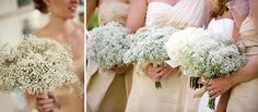 baby's breath for bridesmaids. @Lauren Parr I saw this on SATC today and although I normally detest baby's breath, it looked really pretty!