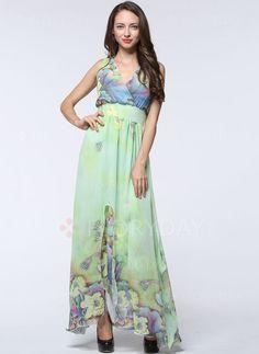 Kleider - $52.92 - Chiffon Blumen Ärmellos Maxi Lässige Kleidung Kleider (1955104650)
