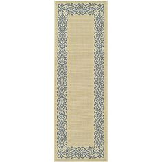 Give beauty to the floors of your patio, deck, or porch with this long indoor/outdoor area rug featuring a blue border pattern against a natural background. This runner is ideal for areas requiring a slimmer rug that resists weathering and stains.
