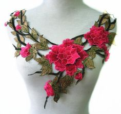 30 Pink//Green Embroidery Venise Lace Rose Flower Applique//Dress//Trim//sewing L41