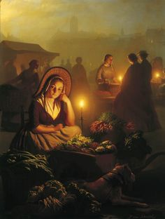 A Girl Selling Vegetables At The Night-Market by Petrus van Schendel