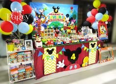 Party Print's Birthday / Mickey Mouse Clubhouse - Javier's Birthday Party at Catch My Party Mickey Mouse First Birthday, Mickey Mouse Clubhouse Birthday Party, 1st Birthday Parties, 2nd Birthday, Birthday Ideas, Elmo Party, Dinosaur Party, Dinosaur Birthday, Pirate Party