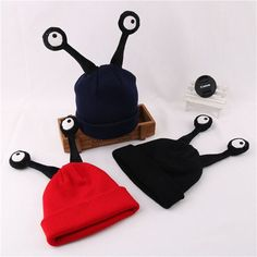 Baby Girls Boys Infant Toddler Kids Cute Snail tentacles Crochet Knit Cap Costume Photograph Prop Hat