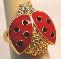 Swarovski Crystal Lady Bug Red Gold Stretch Cocktail Ring
