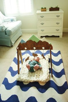 Handpainted nontoxic wooden baby activity gym by WeeLittleNomads