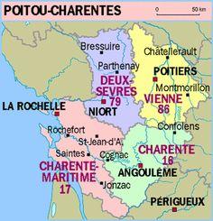 région de la charente  départements 16 17 79 86.