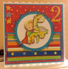 2 today. Bright and wonderful birthday card for little boy. Image from Rachelle Ann Miller. Handmade by Suzy @ Suzy Cole Crafts