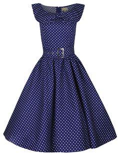 Lindy Bop 'Hetty' Polka Dot Bow Shawl Collar Vintage 1950's Rockabilly Swing Party Dress: Amazon.co.uk: Clothing