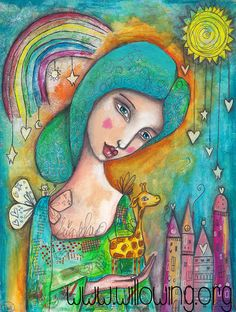 Girl with Giraffe  Art Print by willowing on Etsy, £12.00